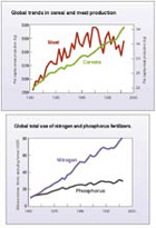 Global cereal & meat production and fertilizer