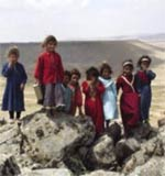 Children from Serdah village at the Khanasser valley in Syria.