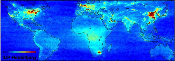 The map below illustrates regions where traffic and fuel combustion