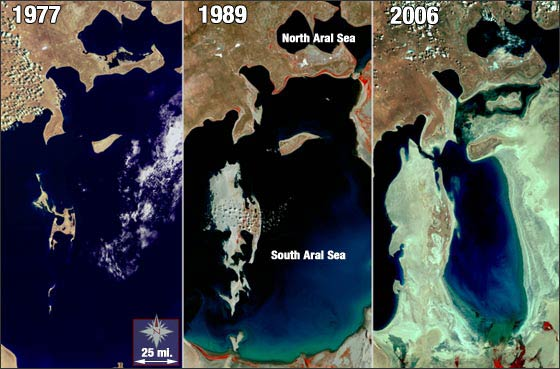 Aral Sea evolution between 1977 and 2006