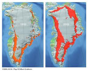 Seasonal surface melt extent on the Greenland ice shield 1992-
