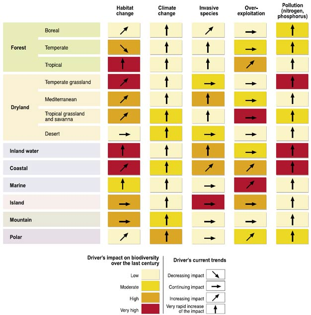 Main direct drivers of change in biodiversity and ecosystems