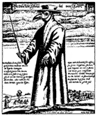 Plague doctor from Rome, engraving by Paul Fürst, 1656